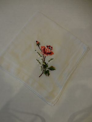 Petit Point Rose Hankie Embroidered Lily of the Valley BEAUTIFUL