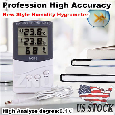Digital LCD Thermometer Hygrometer Humidity Temperature Meter In/Outdoor w/Cable