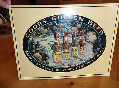 """Coors Golden Beer Tin Sign,Hemmed Edges,3-D Beers Sitting Waterfall,14 3/4""""x 11"""""""