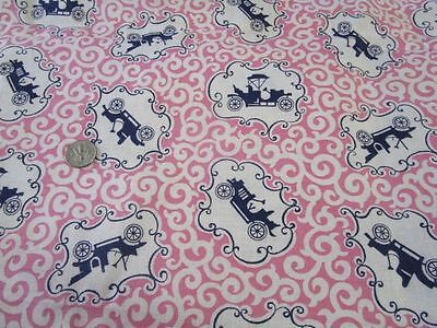 Vintage Opened Feed Sack Fabric Antique Cars on a Pink Scroll
