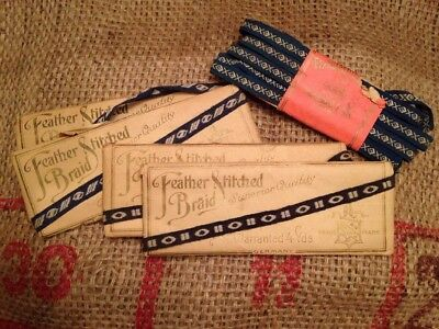 Antique 1908 Feather Stitched Braid Ribbon Blue White 20 Yds General Store NOS
