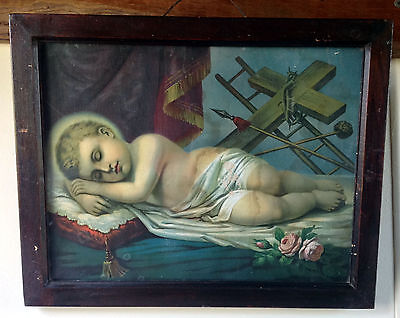 Antique Framed Print: Sleeping Baby Jesus with Crown of Thorns and Roses (5963)