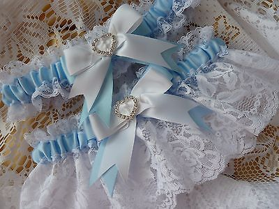 Wedding Garter Set - Personalised - Satin Lace Diamantes - Hand Made To Order