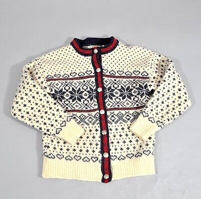 Vintage L.L Bean Norwegian Nordic Pull Cardigan Heart Snow Flake Size M