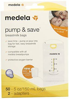 Medela Pump   Save Breastmilk Bags with easy connect adapters 50 pack