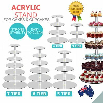 3/4/5/6/7/Tier Clear Acrylic Round Cake Cupcake Stand Party Birthday Wedding DK
