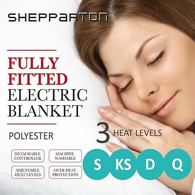 Polyester Electric Blanket Heated Fully Fitted King Single Double Queen Size Bed