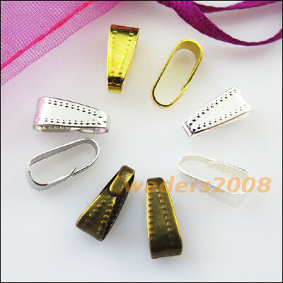 50 New Gold Silver Bronze Plated Connectors Necklace Clip Bail End 4x11mm