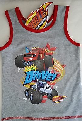 BLAZE MONSTER MACHINES Boy Licensed singlet vest stretch tank top NEW sizes 2-6