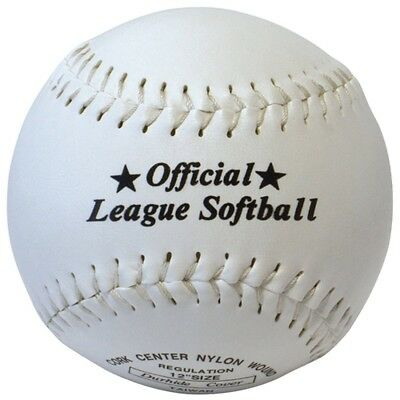 Official League Softball Sports 30cm Cork Centre Synthetic Leather Stitched Ball