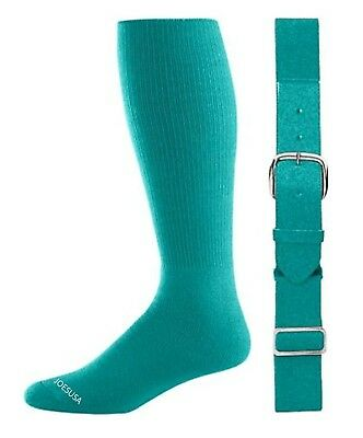 (Adult, Teal) - Baseball/Softball Belt & Sock Combo (Youth & Adult Sizes in 16 C