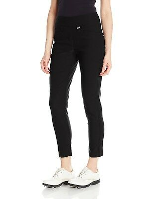 (Size 16, Black) - EP Pro Golf Women's Bi-Stretch Pull On Slim Ankle Pants