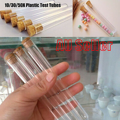 10/30/50X Plastic Test Tubes With Cork Stopper 20ML Volume Candy Party Wedding b