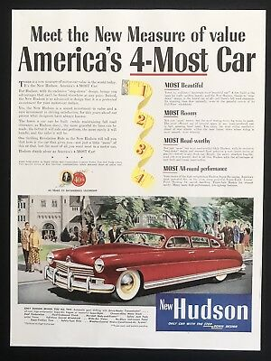 1949 Vintage Print Ad HUDSON Red Car Illustration Driving White Wall Tires