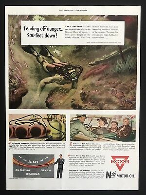 1949 Vintage Print Ad CONOCO MOTOR OIL Diving Water Illustration Explore
