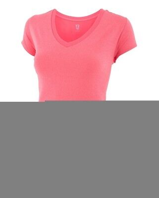(X-Small, Vivacious Heather) - Noble Karleigh Short Sleeve V-Neck Vivacious Heat
