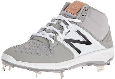 (13 2E US, Grey/White) - New Balance Men's M3000V3 Baseball Shoes. Free Shipping