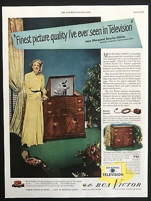 1949 Vintage Print Ad RCA Victor Woman Yellow Dress Smile