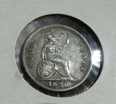 1836 Great Britain sterling silver 4 Pence, King William IV, S.3837