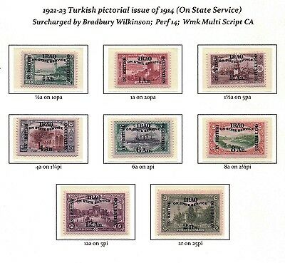 IRAQ SG O33-O40 Official 1921-23 issue.  Mounted Mint.