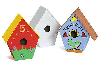 6 x Bird House box decoupage 6 piece pack shapes craft decopatch party activity