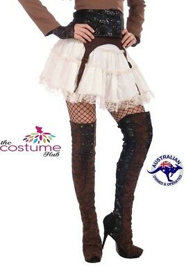 Steampunk Thigh High Boot Covers Fancy Dress Halloween Adult Costume Accessory