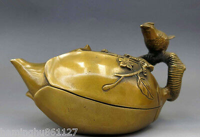 Chinese Decorated Old Handwork Brass Copper Carved plum blossom bird tea pot