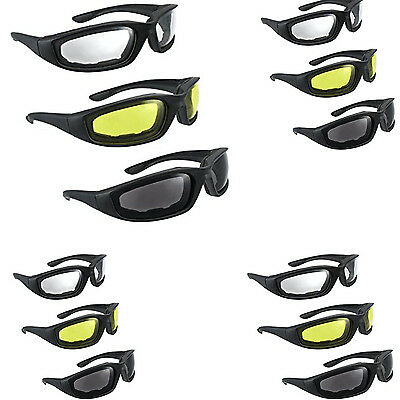 3 Pair Motorcycle Riding Glasses Smoke Clear Yellow Sunglasses Resistant Wind