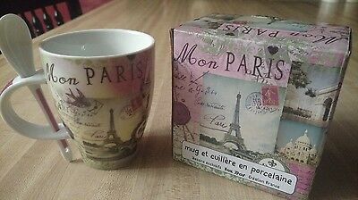 Beautiful Paris Coffee Mug And Serving Spoon From France! Collectable.new In Box