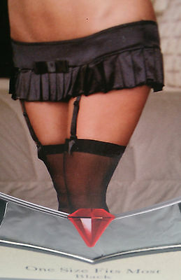 Stretch Satin Pleated Mini Skirt, Garters, Thong and Stockings, One Size