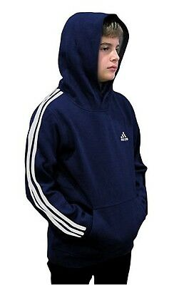 (Youth Small 8, Fleece Pullover Hoodie, Navy/White) - adidas Youth Fleece