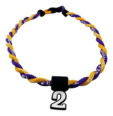 (Purple Yellow) - Pick Your Number - Twisted Titanium Sports Tornado Necklace