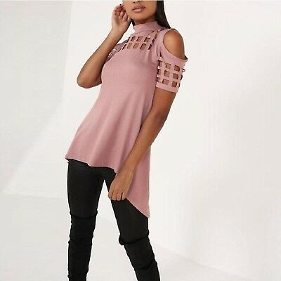 (Large, Pink) - Fheaven Casual Loose Hollowed Out Shoulder Short Sleeve Shirts O