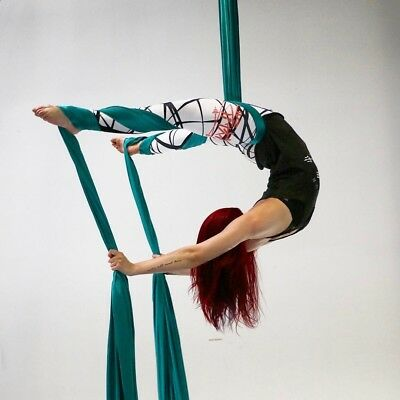 (Aqua) - Aerial silk for acrobatics dance 150cm wide (10 yards) with the Equipme