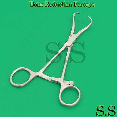 "10 Pcs Surgical Bone Reduction Forceps 5.5"" Orthopedic Curved Ratchet Instrument"