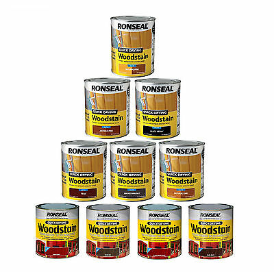 Ronseal Quick Drying Wood Stain - Long lasting Rainproof Satin Finish 750ml