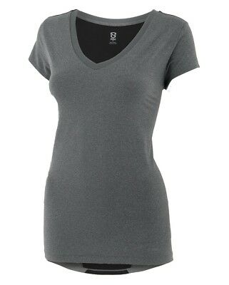 (X-Small, Heather Gray) - Noble Karleigh Short Sleeve V-Neck Vivacious Heather.