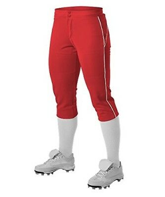 Alleson Girl's Fastpitch Pants with Piping - Scarlet/White - X-Large