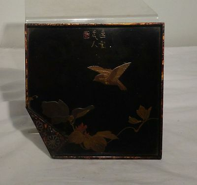 Antique Japanese Lacquered Tray Sparrow Birds Signed Seal Signature