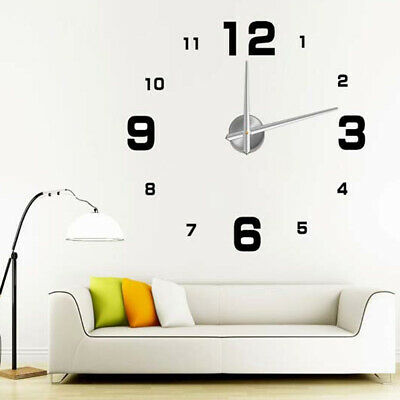 Modern DIY Large Wall Clock Kit 3D Mirror Surface Sticker Home Decorative Decals