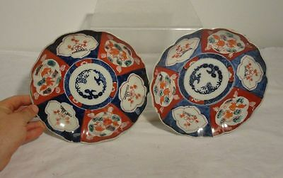 Antique Japanese Pair of Imair Underglaze Blue Bowls Plates As Is Chipped