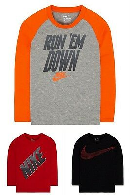 Boys Nike Long Sleeve Athletic T- Shirt Red Black Gray Size 5 6 7 Choose Color!