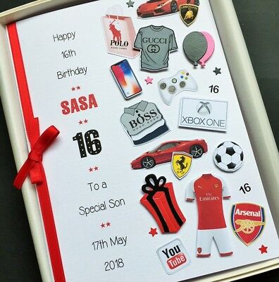 16th 17th Birthday Card Personalised Son Grandson Nephew Handmade