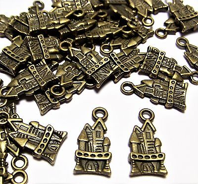 50 Bronze Metal Medieval Castle Charms Lot-Drops-Findings-Jewelry Making Supply