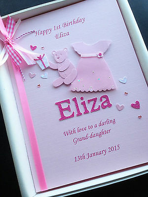 1st BIRTHDAY CARD Daughter Granddaughter Niece Handmade Personalised Gift Boxed