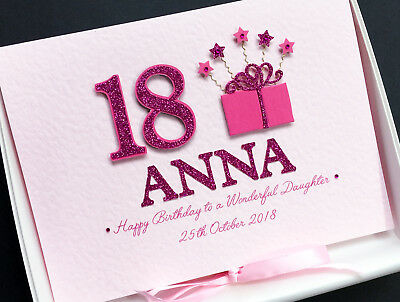 PERSONALISED 18th BIRTHDAY CARD For Girls SISTER DAUGHTER GRANDDAUGHTER Boxed