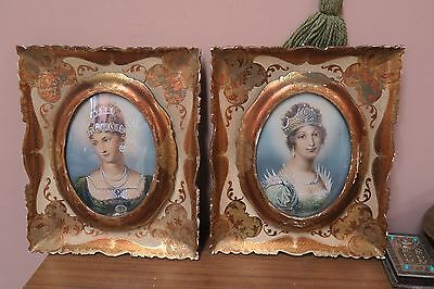 Set @ 2 Frames Florentine Italy Gilt Wood Rococo Frame Victorian Print Picture