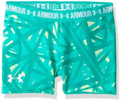 (Youth Small, Summer Lime) - Under Armour Girls' HeatGear Armour Printed 7.6cm