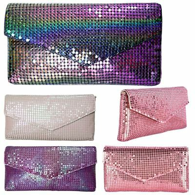 New Womens Holographic Opalescent Chainmail Evening Party Clutch Bag Purse