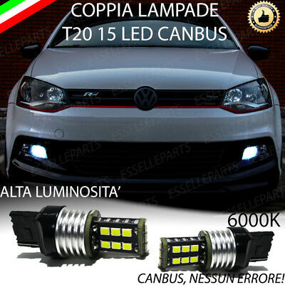 Coppia Luci Diurne Drl 15 Led T20 W21W Canbus Vw Polo 6R 6C 6000K No Errore
